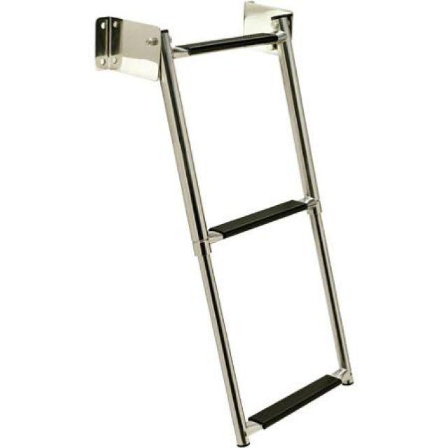 Escada Telescópica Retrátil de Popa em Aço INOX Seachoice - 3 Degraus c/ Antiderrapante