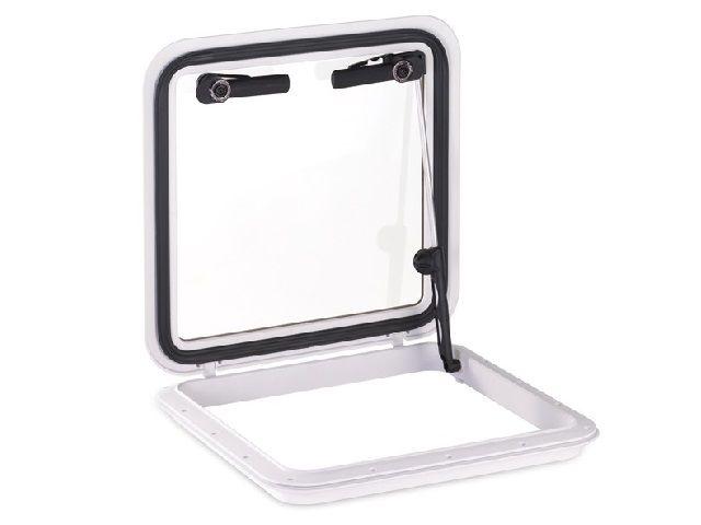Vigia Gaiuta Retangular em ABS Branco 16x16 pol c/ Vidro Temperado
