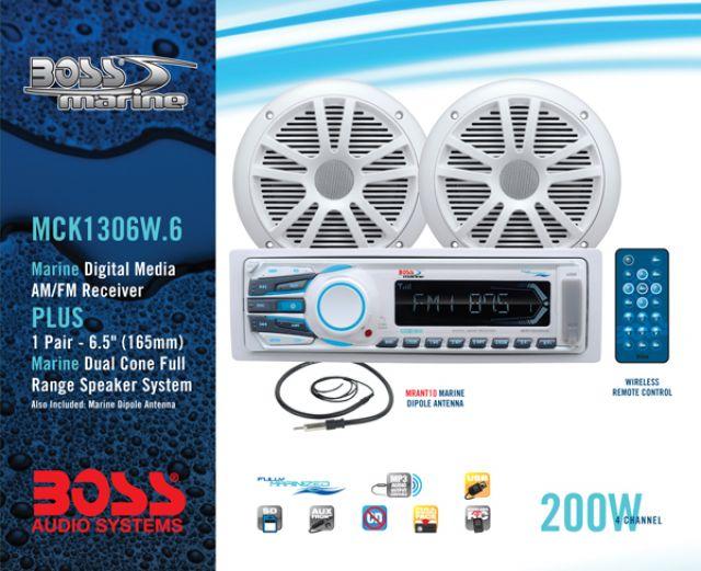 Kit MP3 Solid State MR1306UA + Par Alto-Falante MR6W Marinizado Boss Marine - MCK1306W.6