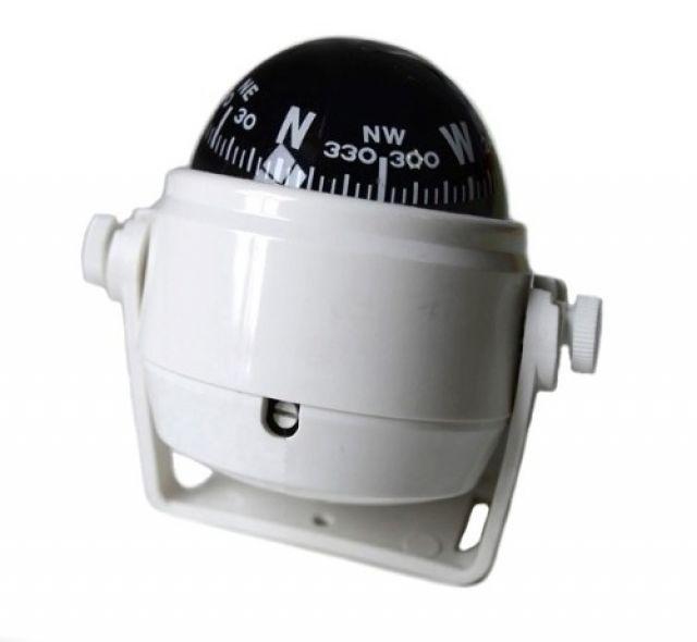 Bússola c/ Base Náutica - C/ Iluminação - Tam: Pequena - Cor: Branca