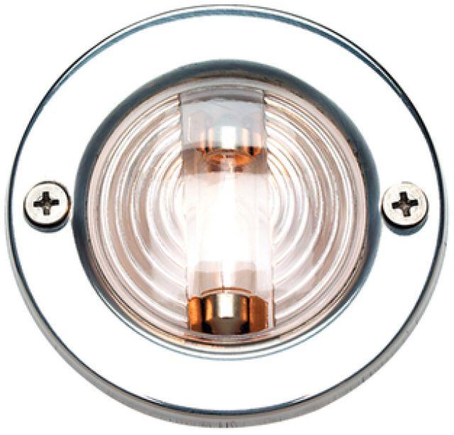 Luz de Espelho de Popa c/ Acabamento em Inox - Redonda